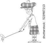 man playing golf illustration... | Shutterstock .eps vector #523987213
