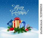 merry christmas congratulation... | Shutterstock .eps vector #523988053