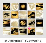 set of 20 black white and gold... | Shutterstock .eps vector #523990543