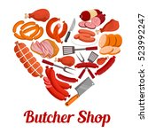 heart made up of meat product... | Shutterstock .eps vector #523992247