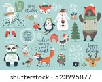 Stock vector christmas set hand drawn style calligraphy animals and other elements vector illustration 523995877