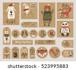 christmas kraft paper cards and ... | Shutterstock .eps vector #523995883