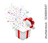 open xmas box with confetti on... | Shutterstock .eps vector #524004547