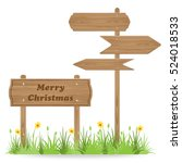 merry christmas text on wooden... | Shutterstock .eps vector #524018533