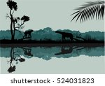 Wildlife silhouettes scene on the cost of river. Jungle and animals silhouettes reflected on water   Shutterstock vector #524031823