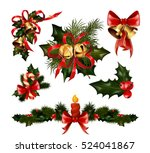 christmas decorations with  fir ... | Shutterstock .eps vector #524041867