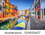 colorful houses in burano ... | Shutterstock . vector #524053657
