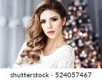 beautiful young woman in white... | Shutterstock . vector #524057467