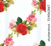 seamless floral pattern red and ... | Shutterstock .eps vector #524062867