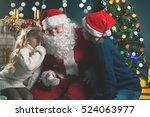 santa and children around the... | Shutterstock . vector #524063977