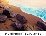 Blue Sea Wave And Stone At...