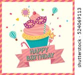 cupcake decorated with carnival ...   Shutterstock .eps vector #524069113