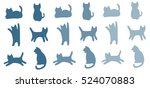 Stock vector blue shadow silhouette cats pattern background cat movement in many positions 524070883