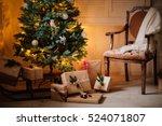 beautiful christmas gifts under ... | Shutterstock . vector #524071807