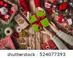 merry christmas and happy... | Shutterstock . vector #524077393