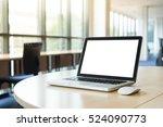 laptop blank screen in the...   Shutterstock . vector #524090773