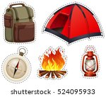 camping set with tent and...   Shutterstock .eps vector #524095933