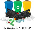 three trash cans and trash bags ...   Shutterstock .eps vector #524096317