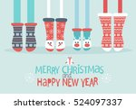family feet in christmas socks. ... | Shutterstock .eps vector #524097337