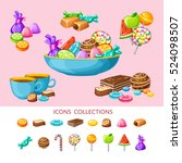 sweet candy icon set... | Shutterstock .eps vector #524098507