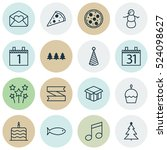 set of 16 happy new year icons. ...