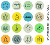 set of 16 celebration icons.... | Shutterstock .eps vector #524107237