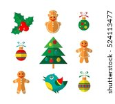 christmas symbols set isolated... | Shutterstock .eps vector #524113477