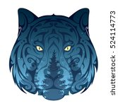 wolf head with night forest... | Shutterstock .eps vector #524114773
