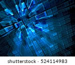 Abstract technology background - computer-generated image. Fractal geometry: portal or hallway of luminous glass blocks. Sci-fi or hi-tech background.