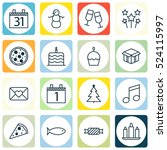 set of 16 new year icons. can... | Shutterstock .eps vector #524115997