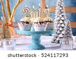 happy new year 2017 cupcakes on ... | Shutterstock . vector #524117293