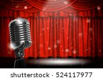 retro microphone over the red... | Shutterstock . vector #524117977