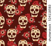mexican skulls and flowers hand ... | Shutterstock .eps vector #524118583