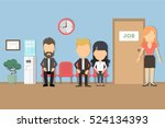 waiting for a job. people seat... | Shutterstock .eps vector #524134393