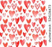 red hearts pattern. happy...   Shutterstock .eps vector #524136673