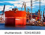 a ship under repair at shipyard ... | Shutterstock . vector #524140183
