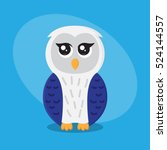 owl cartoon flat cute card on... | Shutterstock .eps vector #524144557