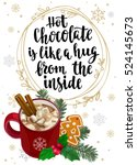 hot chocolate with marshmallow  ... | Shutterstock .eps vector #524145673