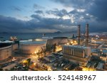 power plant and oil tank at dusk | Shutterstock . vector #524148967