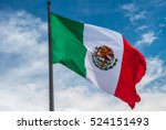 flag of mexico over blue cloudy ... | Shutterstock . vector #524151493