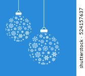 christmas snowflakes and balls. ... | Shutterstock .eps vector #524157637