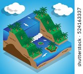 natural waterfall. isometric.... | Shutterstock .eps vector #524163337