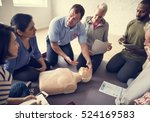 cpr first aid training concept | Shutterstock . vector #524169583