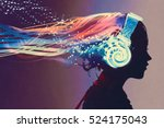 woman with magic glowing... | Shutterstock . vector #524175043