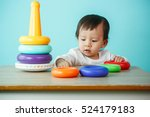 kid toddler playing wooden toys ... | Shutterstock . vector #524179183