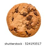 Small photo of chocolate chip cookie isolated on white background