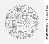smart house linear sign. vector ...   Shutterstock .eps vector #524205133