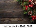 christmas wooden background... | Shutterstock . vector #524218867