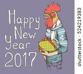 christmas rooster vector...   Shutterstock .eps vector #524219383