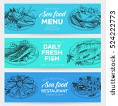vector hand drawn sea food... | Shutterstock .eps vector #524222773